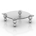 Transparent glass coffee table model