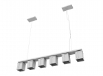 A row of six lights chandelier 3d model combination