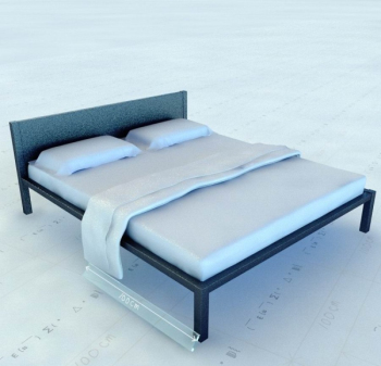 Simple 3d model double bed