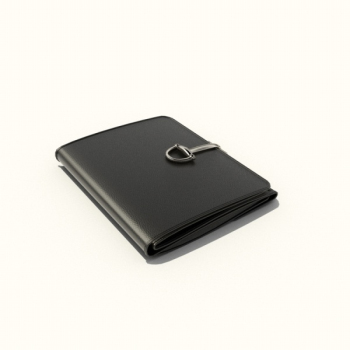 Black leather wallet in 3D