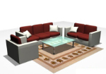 Glass coffee table fabric sofa 3D model