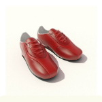 Red leather sneakers 3D model