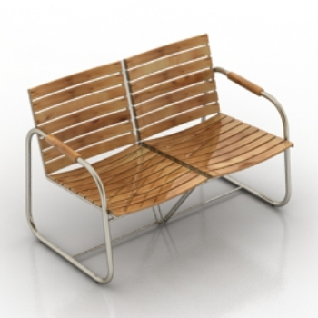 Double wooden chair model