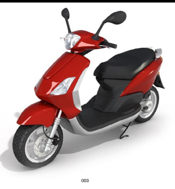 3d model red and black scooter