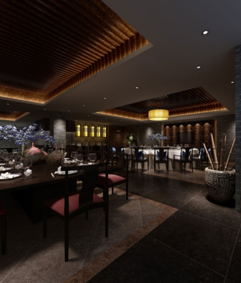 Chinese retro style restaurant 3d model