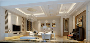 Elegant and stylish living room 3D model design material