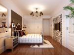 Modern European and American bedroom 3D model effect diagram