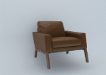 3D model of a single sofa with a vintage