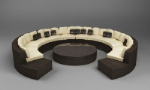 Combined 3D model of arched circular sofa