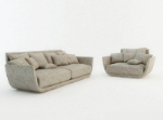 Modern gray fabric sofa 3D model