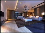 Modern, stylish large living room 3d model