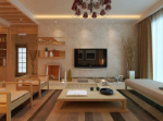 Stylish, modern living room wooden elements in 3D