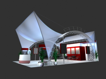 3d model red and white theme exhibition
