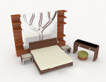 Home Simple wooden double bed 3d model