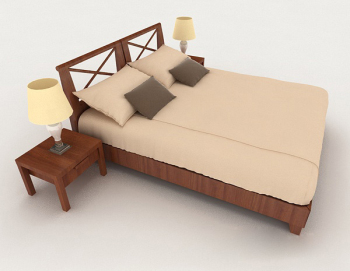 Wooden home minimalist brown double bed 3d model