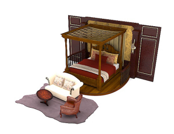 Wooden brown home with double bed 3d model