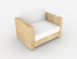 3D model of simple wooden sofa in Scandinavia