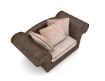 Home dark brown single sofa 3d model