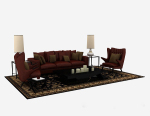 3d models of dark red home wood combination sofa