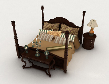 Chinese home brown wooden double bed 3d model