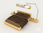 Home wooden brown double bed 3d model