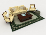 Retro home yellow combination sofa 3d model