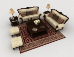 European retro home sofa brown 3d model