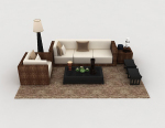 Home leisure wood combination sofa 3d model