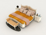 European tiger pattern 3d model with white double bed