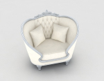 European white home single sofa 3d model