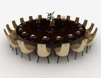 Hotel round dinette combination 3d model