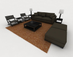 3d model of modern home dark gray sofa
