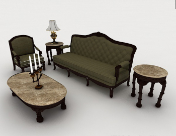 3d retro model of European retro green sofa