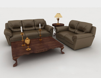 European - style home gray - brown combination of 3d sofa model
