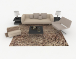 Home gray simple combination of leisure sofa 3d model