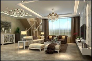 Fashion white minimalist living room 3D model