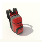 Red gray shoulders mountaineering bags 3d model