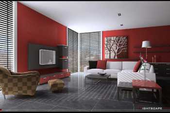 3d red gray fashion model living room