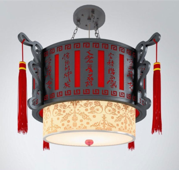 Antique chandelier red round 3D model