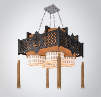Corners classical Chinese style chandeliers 3D model