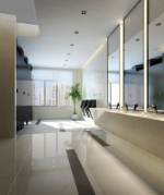 Simple atmospheric model white bathroom 3D