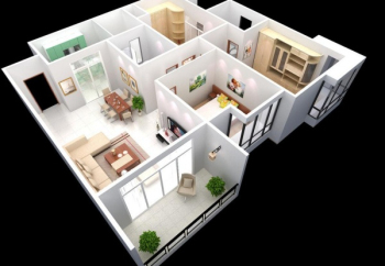 Aerial view of new home decoration apartment 3d model
