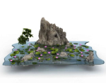 The number of lotus pond rockery sand outdoor landscape model