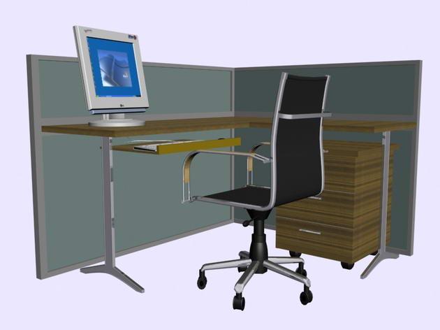 four kinds computer tables chairs computer portfolio 3d model
