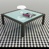 Solid wood coffee table glass table stylish high-end 3D models