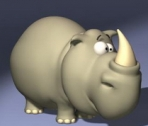 Cartoon rhino 3d model of