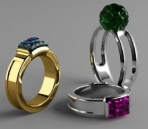 Color Gemstone Ring Model