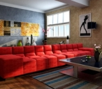 Bright and stylish living room model