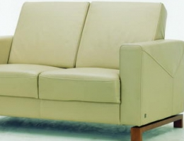 Beige quadrate backrest love seat