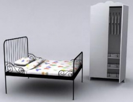 Matel Double Bed Closet Cabinet